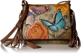 Anuschka Anna by Women's Genuine Leather Flap-Over Cross Body | Hand Painted Original Artwork | Floral Paradise Tan