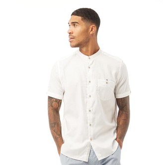 Ted Baker Mens Gowntay Long Sleeve Waffle Grandad Collar Shirt White