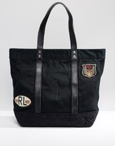 Polo Ralph Lauren Canvas Tote Bag Moto Badges In Black