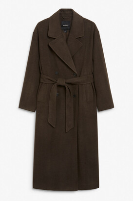 Monki Long double-breasted coat