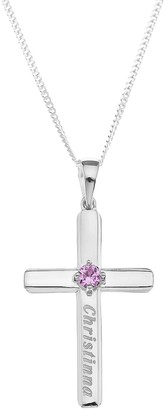 The Love Silver Collection Personalised Sterling Silver Birthstone Cross Pendant