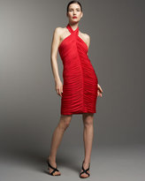 Aidan Mattox Ruched Halter Dress