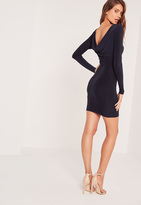 Missguided Cowl Back Slinky Bodycon Dress Navy