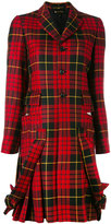 Comme des Garcons plaid pleated hem coat - women - Cupro/Wool - S