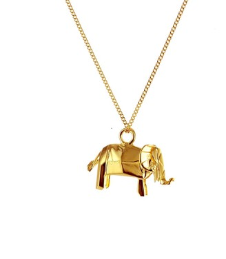 Origami Jewellery Mini Elephant Necklace Gold