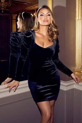 Quiz Sam Faiers Black Velvet Puff Sleeve Bodycon Dress