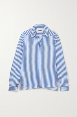 Jil Sander Striped Silk-satin Shirt - Blue