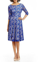 Sangria Tea-Length Midi Lace Fit-and-Flare Dress