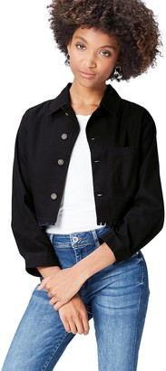 Find. Amazon Brand Women's Raw Edge Cropped Long Sleeve Jacket