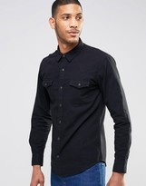 Pull&Bear Western Denim Shirt In Black