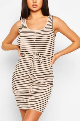 boohoo Button Front Stripe Mini Dress