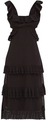 Zimmermann Ruffled Open-back Fil-coupe Chiffon Midi Dress - Black