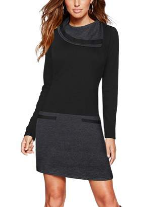Moyabo Women Dress for Special Occasions Long Sleeve Funnel Neck Color Block Sheath Formal Work Party Bodycon Dress Black XX-Large