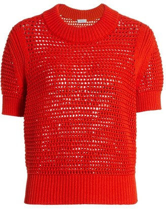 Akris Punto Crocheted Short Sleeve Chunky Knit Sweater
