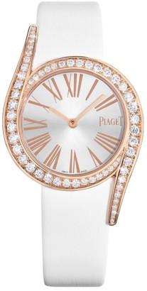 Piaget Limelight Gala 18K Rose Gold & Diamond White Satin Strap Watch