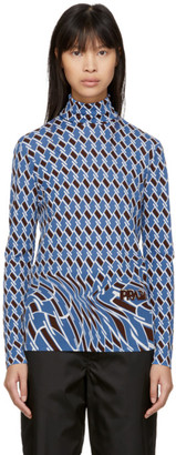 Prada Blue Argyle Turtleneck