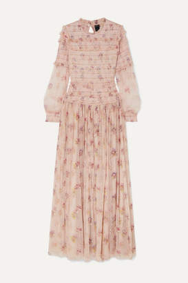 Needle & Thread Think Of Me Sequined Shirred Floral-print Tulle Gown - Neutral