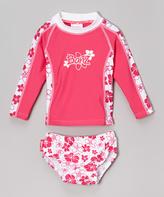 BaBy BanZ Pink Floral Rash Guard Set - Infant
