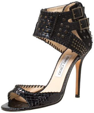 Jimmy Choo Black Python Embossed Leather Studded Buckle Ankle Cuff Sandals Size 39