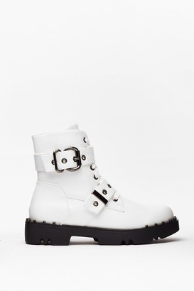 Nasty Gal Womens PU Double Buckle Biker Boots - White