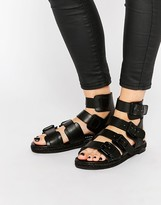 KENDALL + KYLIE Kendall & Kylie Jackie Black Leather Multi Buckle Flat Sandals
