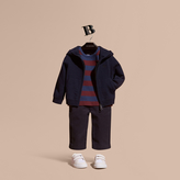 Burberry Check Trim Merino Wool Hooded Top
