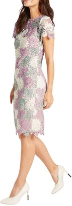 Ex Marks & Spencer M&S Womens Cream Ivory Pink Pretty Lined Crochet Lace Short Sleeve Summer Dress Size 8