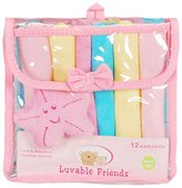 Luvable Friends 12 Washcloth Set with Starfish Toy - pink, one