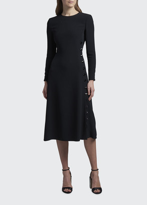 Giorgio Armani Long-Sleeve Cady Dress with Button Trim