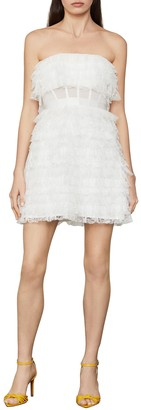 BCBGMAXAZRIA Lace Fringe Strapless Dress
