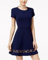B. Darlin Juniors' Lace-Trim Fit and Flare Dress