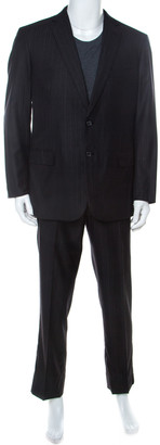 Brioni Charcoal Grey Striped Wool and Silk NM Colosse Suit XL