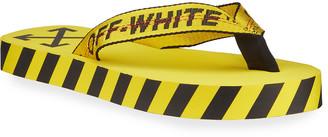 Off-White Men's Web-Strap Striped Flip Flops
