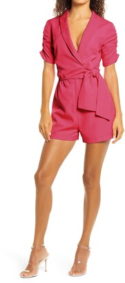 4SI3NNA the Label Marcella Ruched Sleeve Romper