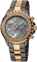 August Steiner Rose Gold & Black Mother-of-Pearl Chronograph Watch