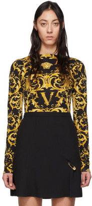 Versace Black and Yellow Wester Barocco Bodysuit