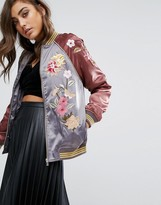 Miss Selfridge Satin Embroidered Bomber Jacket