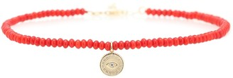 Sydney Evan Exclusive to Mytheresa Evil Eye coral, 14kt gold and diamond anklet