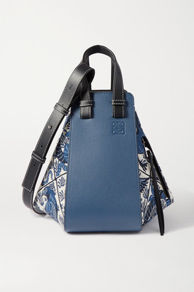 Loewe Hammock Small Leather And Canvas-jacquard Shoulder Bag - Blue