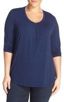 Sejour Plus Size Women's Stripe Three-Quarter Sleeve Tee