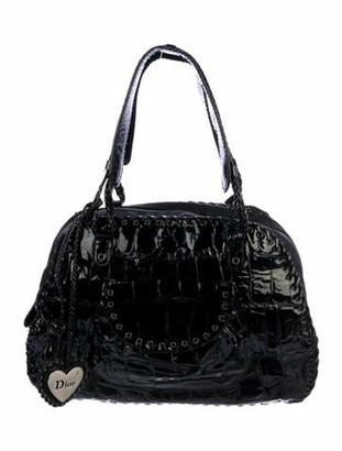 Christian Dior Patent Leather Whipstitch Charm Tote Black