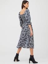 Very Floral Puff Sleeve Midi Dress - Print