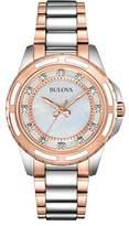 Bulova Ladies Women's Designer Diamond Watch - Two Tone Rose Gold Fashion Wrist Watch 98S134