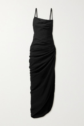 Jacquemus Saudade Open-back Ruched Twill Maxi Dress - Black