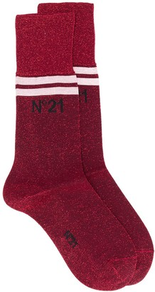 No.21 Glitter Logo Print Ankle Socks