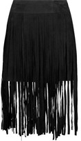 McQ by Alexander McQueen Fringed Suede Midi Skirt