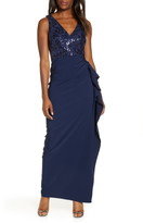 Vince Camuto Sequin Bodice Laguna Crepe Gown