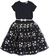 MonnaLisa Stars Embroidered Tulle & Jersey Dress
