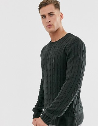French Connection 100% cotton logo cable knit jumper-Green