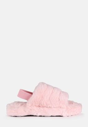 Missguided Blush Panelled Slingback Faux Fur Sandals